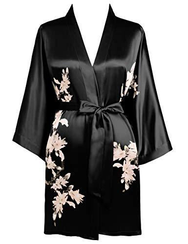 BABEYOND Damen Morgenmantel Blumen Gedruckt Sommer Bademantel Kimono Kurz Robe Leicht Schlafmantel Damen Satin Strandkleid (Schwarz)