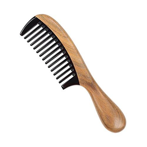 LWBTOSEE Holz Kamm breit Zahn und feine Zahnung Holz, Grün Sandelholz Kamm antistatisch Entwirren Horn Kamm für Frauen, Herren und Mädchen, Haarkamm für dickes, lockiges und welliges Haar