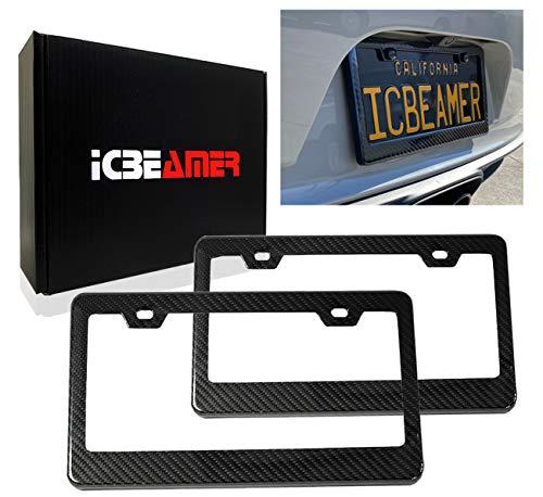 ICBEAMER Black Carbon Fiber Surface Custom License Plate Frame Tag Snap Fit...