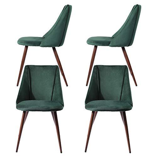 DORAFAIR 4er Set Esszimmerstühle Samt Vintager Retro Küchentisch Stühle mit Hölzernen stabilen Metallbeine für Esszimmer, Grün