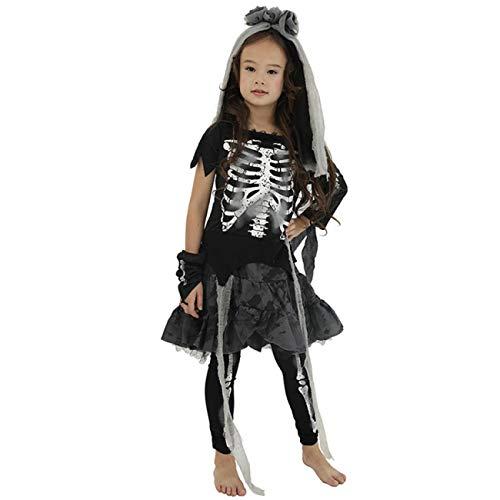 ERFD&GRF Scary Cosplay Kinder Braut kostüm Halloween Vampir Dress für mädchen Tag der Toten Karneval Party Disguise Teufel Kinder, Kinder Hexe, m