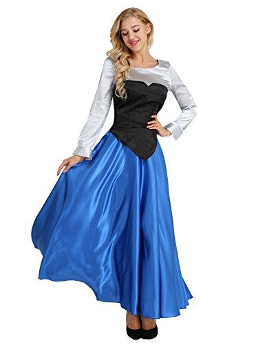 FEESHOW Frauen Meerjungfrau Kostüm Prinzessin Cosplay Outfits Partykleid Retro Swing Kleid Satin Maxikleid für Fasching Karneval Bunt Large