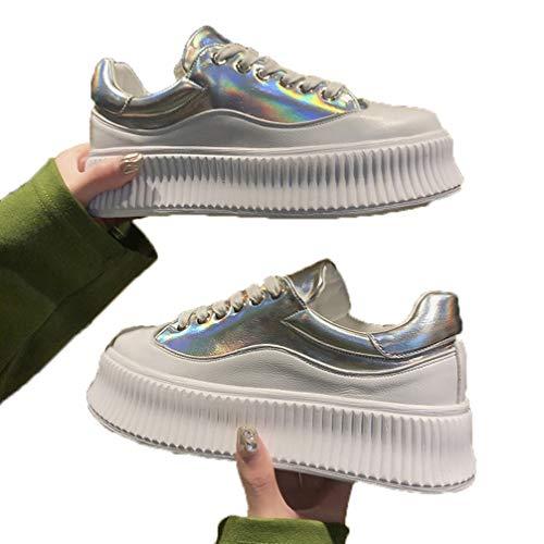 Dames Plateau Creepers Schoenen Ronde Neus Veters Chunky Sneakers Mode Lage Top Ademend Vulcaniseer Flats Casual Loopschoenen