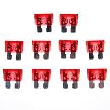 10pcs 10A 32V Fusibles Cuchilla Estándar de Recambio para Automóvil Coche Rojo