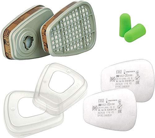 Juego 3M Filtro 6055 A2 S Y Filtros De Partículas 5925 P2 R Y Retenedor De Filtro 501 Con SmartProduct Tapones Para Los Oídos