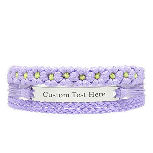 Miiras Customize Engraved Handmade Bracelet - Purple FL - Made of Embroidery Floss and Stainless Steel - Gift for Women, Mothers, Daughters, Aunts, Grandmothers, Sisters.