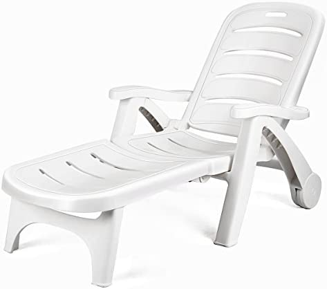 Best Giantex Folding Lounger Chaise Chair on Wheels Outdoor Patio Deck Chair Adjustable Rolling Lounger 5