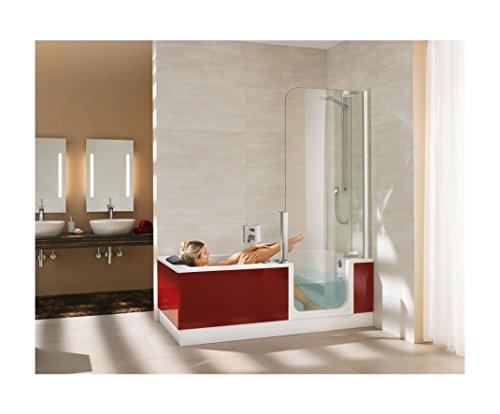 Artweger Twinline 2 Dusch Badewanne 170 x 75 cm mit Tür mit Glasfront Kombiwanne mit Ab.- und Überlaufgarnitur weiss Türe rechts ohne ART-Grip mit Schürze Glas anthrazit