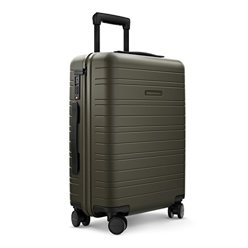 HORIZN STUDIOS H5 Cabin Luggage (35 L) with an Integrated, Removable Smart Charger and inbuilt Compression Pad. for Trips 2-3 Days (Olive)