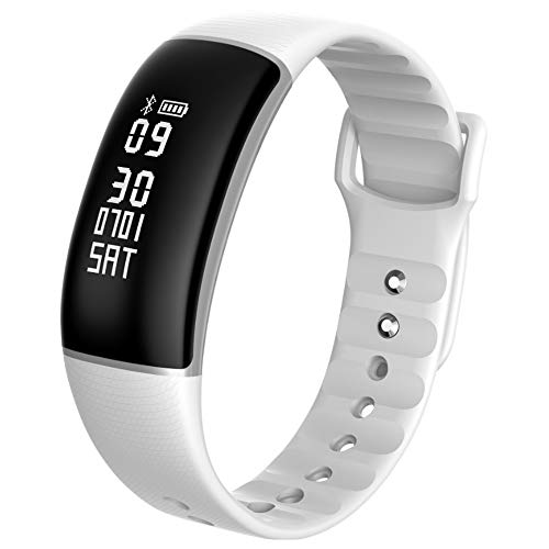 Rastreador de Fitness de Alta Gama, Reloj Inteligente a Prueba de Agua IP67 con Monitor de Frecuencia Cardíaca, Reloj Inteligente de Fitness con Podómetro, Reloj Despertador.-white
