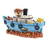 ZYING Acuario Resina Naufragio Decoración del Tanque de Pescado Pirate Treasure Ship Ornamento Accesorios Estatua para Peces Ocultar Paisaje rocoso