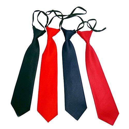 NiñO EláStico Corbata Negro Corbata Negra NiñO Corbata Para NiñOs Con Aire De Seda Corbata Negra Con Goma NiñO Corbata Con Goma Corbata Negra Azul Roja Boda Roja Profunda Set De 4 Piezas