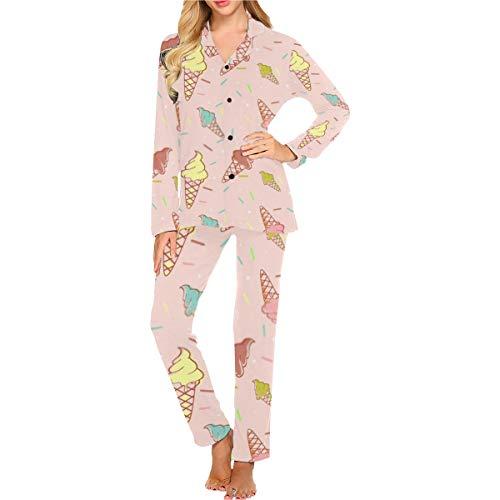 Conjuntos de Pijamas para Mujeres, Colorido Helado de fusión sin Costuras Confeti Suave y Ligero Conjunto de Ropa de Dormir, cómodo y cálido Loungewear Mejor Regalo