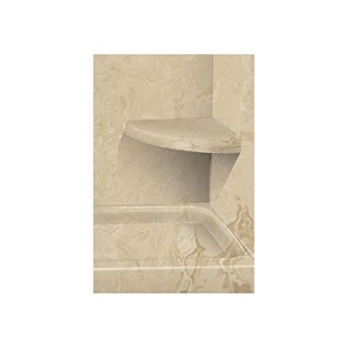 """Transolid CSS1414-96 14"""" x 14"""" Solid Surface Wall-Mount Corner Shower Seat in Almond Sky"""