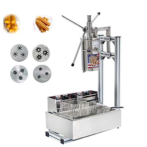 BAOSHISHAN 5L Machine pour Churros Churros machine à pain Commercial Outil Professionnel de machine à Churros de cuisine cuisson Pâtisserie avec cutter avec 12L friteuse électrique 220V CE