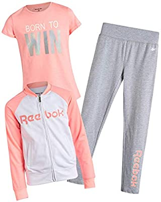 Reebok Girls' Activewear Set with T-Shirt, Leggings, and Tricot Jacket (3-Piece), Light Coral, Size 8