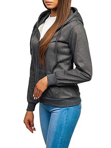 BOLF Damen Kapuzenpullover Sweatshirt mit Kapuze Sport Pullover Sweatjacke Hoodie Langarmshirt Farbvarianten Sweater Reißverschluss Fitness Training J.Style WB1005 Dunkelgrau L [A1A]