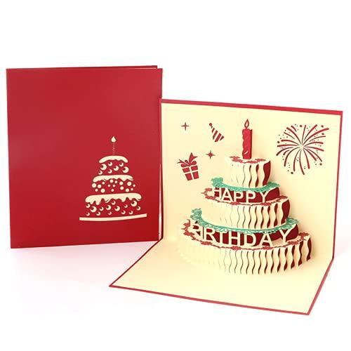 3D Pop Up Birthday Cards,Birthday Greeting Cards Handmade Happy Birthday Cards & Envelopes for Sister, Mom, Wife, Kids, Boy, Girl, Friend