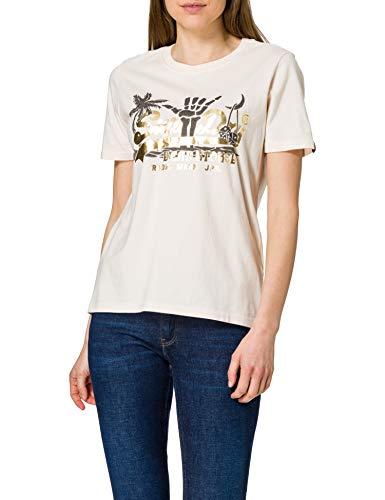 Superdry Womens VL ITAGO Tee T-Shirt, Cream Quartz, M