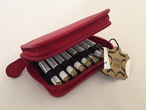 Kinder-Taschenapotheke, rot, -PORTOFREI-,16 Mittel á 1,2g Globuli in UV-Schutzglas-Röhrchen in einem hochwertigen Leder Etui mit Strahlen-Abschirmung,Globuli Tasche,Globuli Mäppchen,,