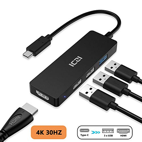 ICZI Hub USB C Thunderbolt 3 4 en 1 Adaptador USB Tipo C a HDMI 4K DeX Station 3 USB para para Macbook Pro Surface Pro 7 Samsung S10 Huawei Mate 10 IPad Pro 2018 etc