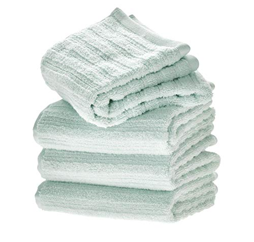 Price comparison product image iDesign Set of 4 Bath Towels,  Large Ribbed Cotton Guest Towels,  Extra Soft Towels Set for Shower,  Sauna and More,  Light Blue