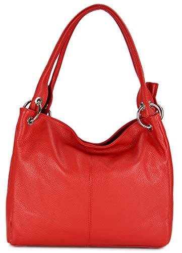 Belli italienische Leder Schultertasche Damentasche Handtasche Shopper Lilly in rot - 33x28x14 cm (B x H x T)