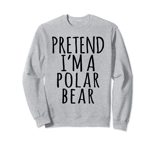 Disfraz de Halloween perezoso - Animal Print Pretend Polar Bear Sudadera