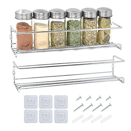 Estanteria especias de dos niveles | Especiero Cocina | Organizador de condimentos para estanteria cocina | Organizador de especias para colgar en la pared, estante de especias plateado