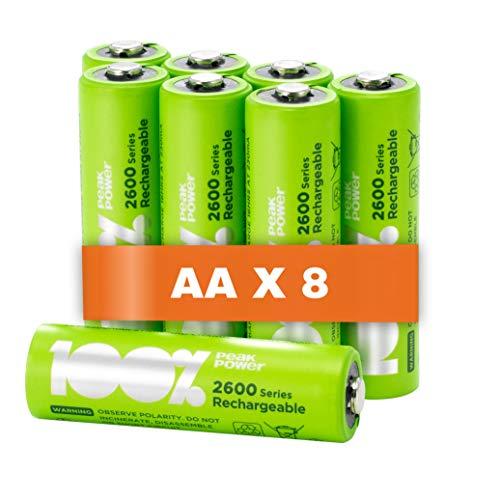 100% PeakPower 8 x Pilas Recargables AA 2600 Series | Capacidad mínima Garantizada 2300 mAh NiMH | Pilas AA Recargables Que Vienen precargadas Listas para Usar | Bajo...