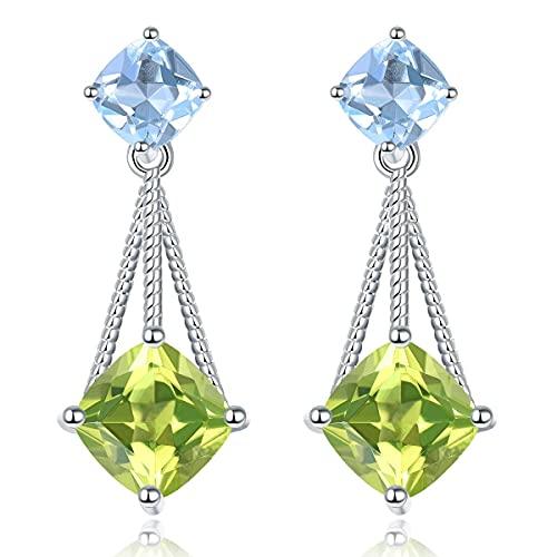 Lohaspie - Pendientes colgantes para mujer, plata de ley 925, pendientes colgantes de topacio azul con piedras preciosas naturales y peridoto, joyas de plata para cumpleaños
