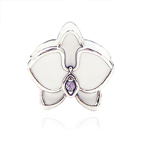 COOLTASTE - Abalorio de plata de ley 925 con diseño de orquídea...