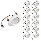 OSTWIN (12 Pack) 4 Inch LED Retrofit Gimbal Downlight, Adjustable Recessed Ceiling Light, Dimmable, Can Installation, 10W (75W Replace.), 900 Lm, 4000K (Bright White), Energy Star, ETL Listed