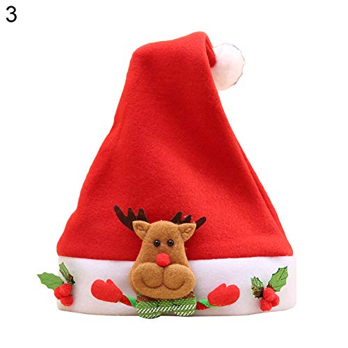 Difcuy Lovely Christmas Snowman Elk Santa Claus Bear Hat Kids Party Decor Gift 3#