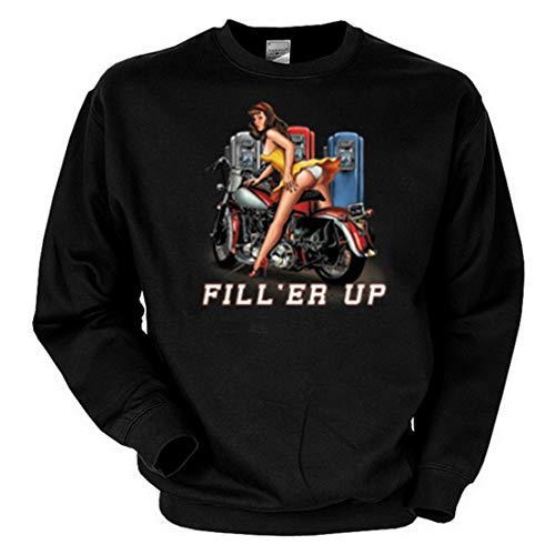 Geile-Fun-T-Shirts geil bedrucktes Biker & Motorrad Sweatshirt/Fill'er Up ! Größe XXL