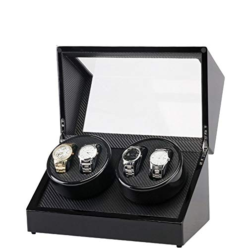 JOMSK Uhrenboxen Elektro-Shaker Schwarz Lack Double Head 4 Position Carbon-Faser-Elektromotor Box Automatische Winding Uhrenbox Haushalt Schmuck Aufbewahrungsbox aus Holz Schmuck
