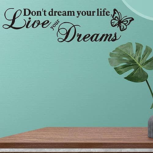 Cajgvavj Vive Tus Sueños, Proverbios Ingleses, Pegatina De Pared Para Dormitorio, Sala De Estar, Decoraciones De Fondo, Papel Tapiz, Pegatinas De Mariposa Creativas