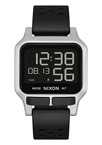 NIXON Heat A1320 - Silver - 100M Water Resistant Men's Ultra Thin Digital Sport Watch (38mm Watch Face, 20mm PU/Rubber/Silicone Band)