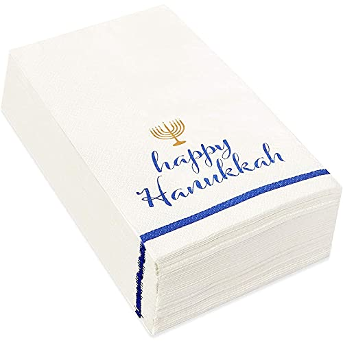 Happy Hanukkah Disposable Paper Napkins, Holiday Party Supplies (4 x 8 In, 50 Pack)