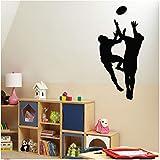 Sticker Vinyle Applique Autocollants Art Mural Décoratif Sportif Joueur De Rugby Jeu 28x57cm