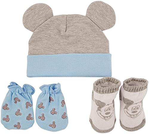 Disney Baby Boys Mickey Mouse 3 Piece Take Me Home Set: 3D Ear Hat, Socks and Mitten (0-3m), Size Age 0-3 Months, Mickey Mouse