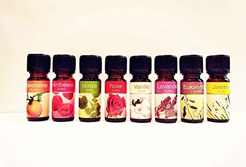 Set de 8 aceites esenciales 100% puros. Rosa, Mandarina, Vainilla, Jazmin, Mora, Eucalipto, Menta y Lavanda