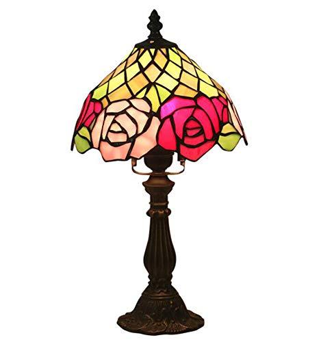 NANXCYR Lámpara de Mesa de Estilo Tiffany, 8 Pulgadas Rosa Rosa Rosa Sombra Manchada Antigua Lámparas de Escritorio Luz de Lectura para Oficina Sala de Estar Dormitorio Arte de Noche Arte Regalo