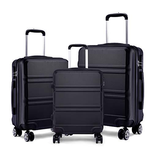 Kono Fashion Luggage Set of 3 PCS Lightweight ABS Hard Shell Trolley Travel Case with 4 Spinner Wheels 20' 24' 28' Suitcase (3 Pcs Set, Black)
