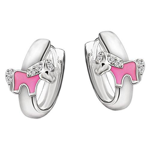 CLEVER SCHMUCK Silberne Mini Kindercreolen Ø 10 mm mit Pony rosa lackiert und mehreren kleinen Zirkonias glänzend STERLING SILBER 925