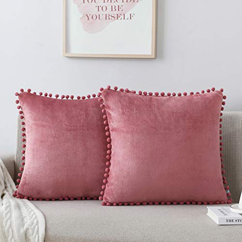 NordECO HOME Flannel Throw Pillow Covers - Soft Set of 2 Decorative Pompom Cushion Covers Cases for Bed Sofa Home Decoration, 18 x 18, Mauve