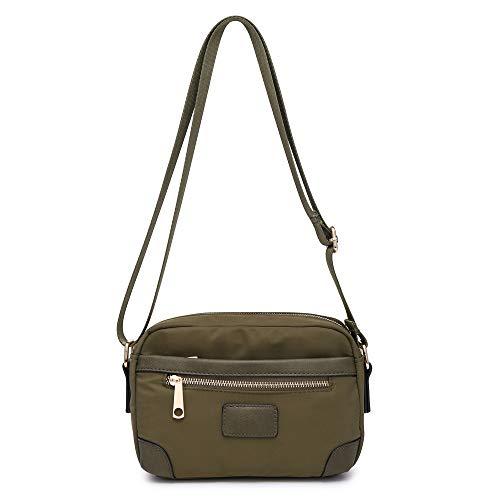 Woman Lady Season Smart Nylon Light Small Messenger Cross Body Shoulder bag UK (Olive)
