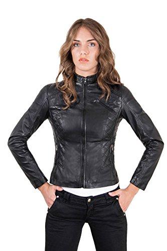 D'Arienzo Damen Lederjacke Italienische im Steppjacke Look Schwarze Echtleder lammnappa Made in Italy GENY