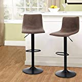 Maison Swivel Bar Stools Set of 2 for Kitchen Counter Adjustable Counter Height Bar Chairs with Back Tall Barstools PU Leather Kitchen Island Stools, Brown