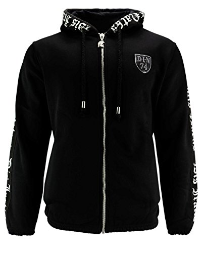 DIS IRATIS NATUS (D.I.N. Herren Trainingsjacke Zipper Kordel Kapuze schwarz (L)